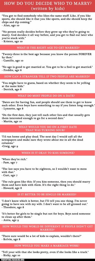 Kids thoughts on marriage *gasping for air*