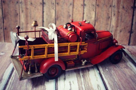 Ring bearer-fire fighter-fireman-ring holder-fire truck-wedding-bride-groom-just married-cake topper-fire fighter wedding-fireman groom