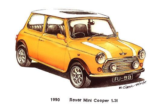 Yellow 1990 Rover Mini Cooper Car
