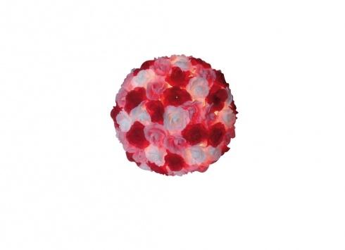 LAMPADA DA TAVOLO ROSE TESSUTO. Lampada da tavolo tonda composta da tante roselline di colore bianco, rosa e rosse in tessuto con alimentatore di corrente.