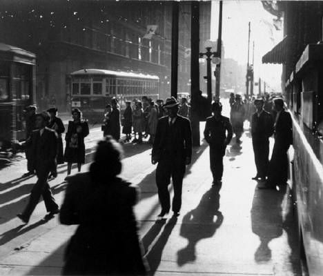 Five O'Clock Rush, Queen and Yonge Streets, Toronto, 1940 by Charles Woodley
