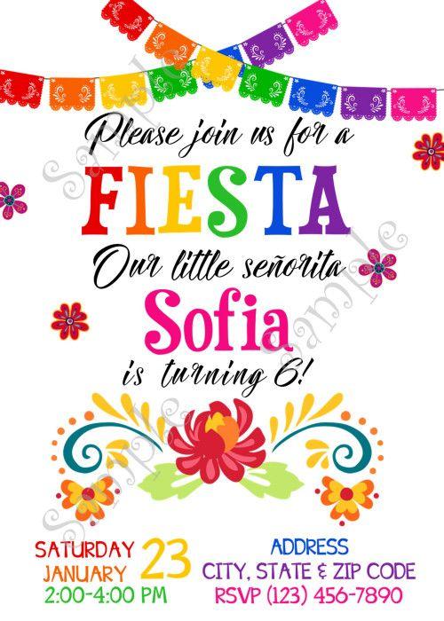 Mexican Fiesta Invitation, Fiesta party Birthday, 5 de Mayo Invitation