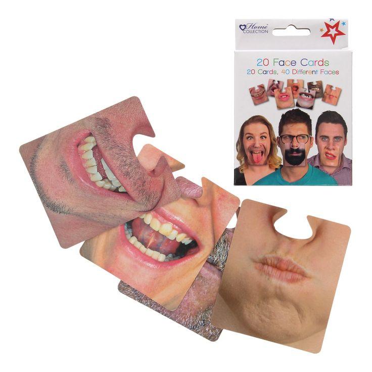 Maak de grappigste kiekjes met behulp van deze fotoprops. Plaats een kaart van een maffe mond onder de jouwe en leg het vast met je camera. De set bevat 20 dubbelzijde kaarten waarmee je 40 grappige gezichten creëert. Afmeting:kaart ca. 10 x 10 cm. - Fotoprops, 20st.