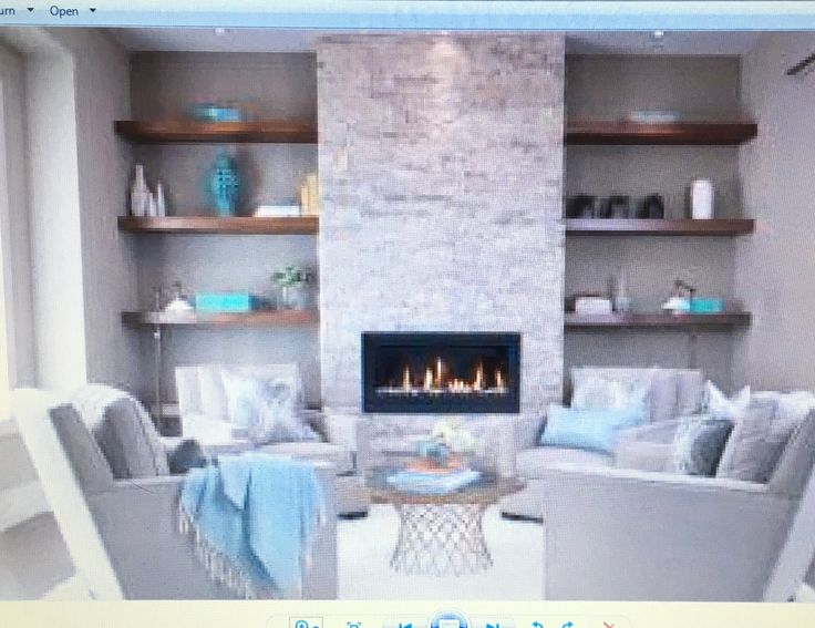 The Floating Shelves Surrounding Bumped Out Tv Fireplace Wall A Man Cave And Study Pinterest