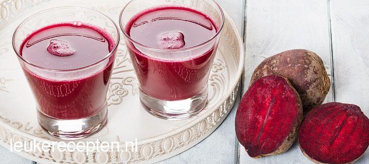 Rode bietensap _ gezond en lekker fris van smaak. Rode bietensap doet trouwens je uithoudingsvermogen toenemen. Het is dus eigenlijk een legale doping. Toch best geen overmatige consumptie vanwege de hoge concentraties nitraat!