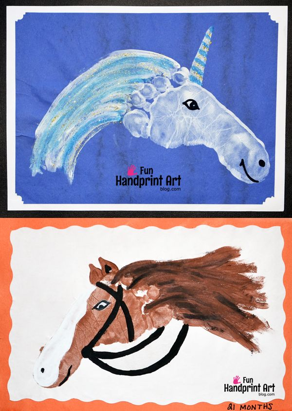 Handprint Animals: Footprint Horse & Unicorn Crafts