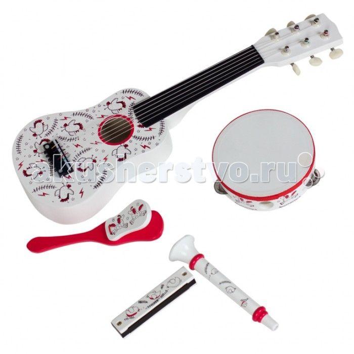 Музыкальная игрушка Kids4kids Волшебные ноты набор детских музыкальных инструментов  Волшебные ноты набор детских музыкальных инструментов  5 музыкальных инструментов (гитара, дудочка, маракас, бубен, губная гармошка)  Эксклюзивный дизайн  Музыкальный Олимп ждет тебя и твоих друзей.  Благодаря такому зажигательному набору музыкальных инструментов, Ваш малыш и его друзья смогут дома устроить настоящий праздничный концерт. Ведь в нашем наборе помимо великолепной гитары с настоящими колками и…