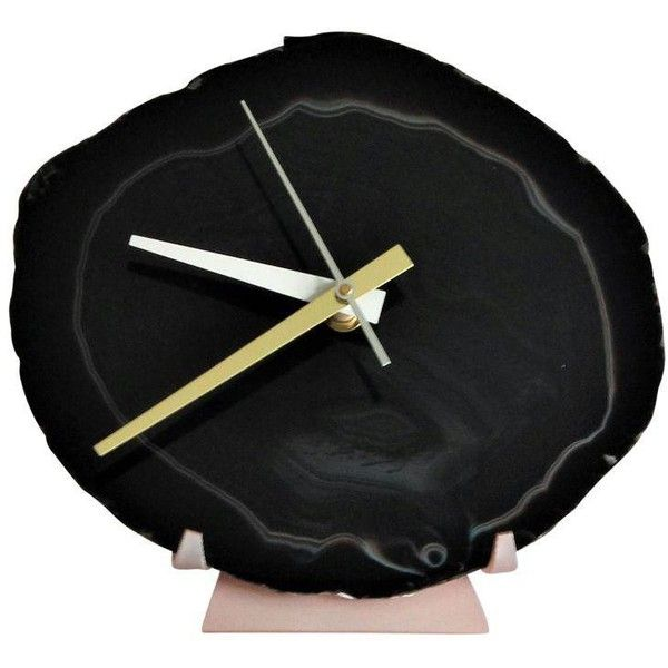 Black Agate Slice Desk Clock ($180) ❤ liked on Polyvore featuring home, home decor, clocks, oversized clocks, handmade clocks, black wine bottles, oversized wine bottle and photo stand