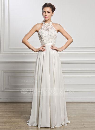 Vestidos princesa/ Formato A Decote redondo Longos De chiffon Charmeuse Renda Vestido de noiva com Bordado Lantejoulas (002056982)
