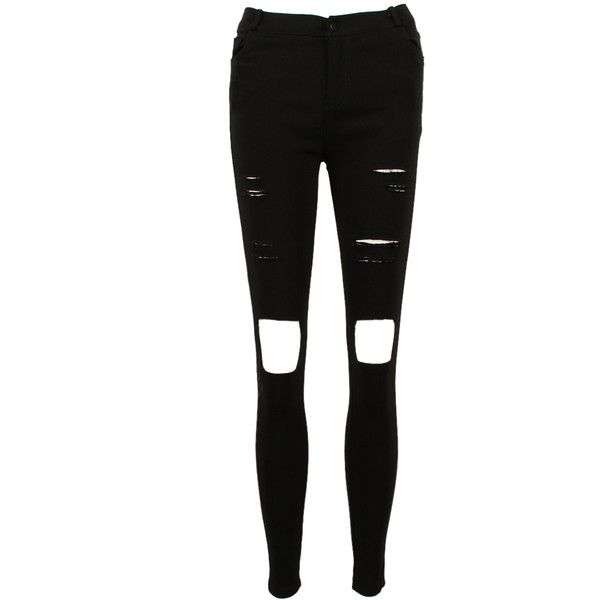 Choies Black Skinny Ripped Distressed Jeans (84 RON) ❤ liked on Polyvore featuring jeans, pants, bottoms, pantalon, super distressed skinny jeans, destroyed jeans, destructed skinny jeans, distressing jeans and skinny leg jeans