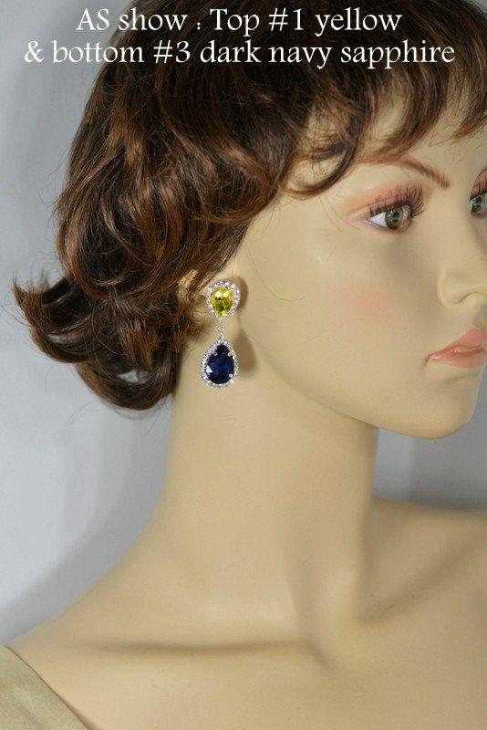 Navy blue yellow Bridesmaid jewelry sapphire by thefabwedding2