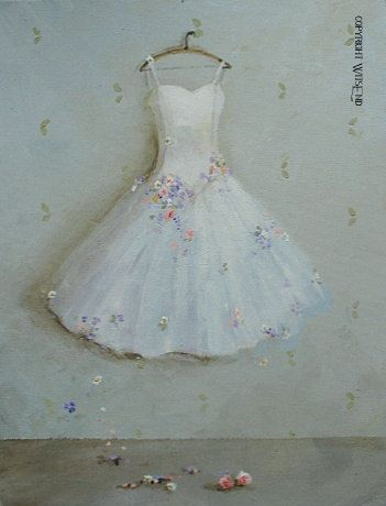 'THE DAY SHE DANCED IN THE SUMMER GARDEN', Ballet Tutu painting Garden ballerina art still life by 4WitsEnd, via Etsy