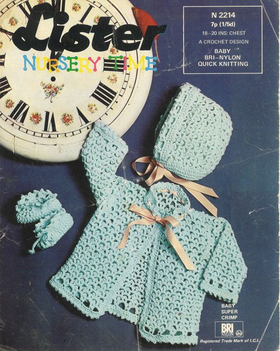 Lister 2214 baby matinee coat and bonnet vintage crochet pattern PDF instant download
