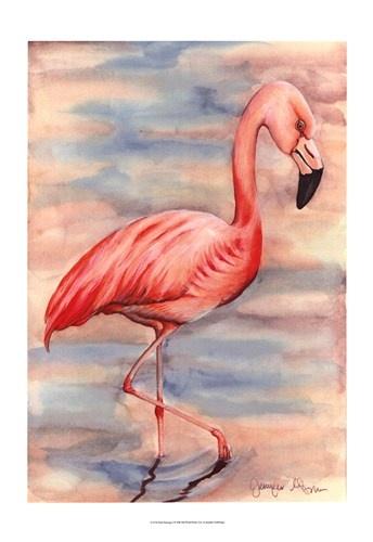 Pink Flamingo I, Art Print by Jennifer Goldberger