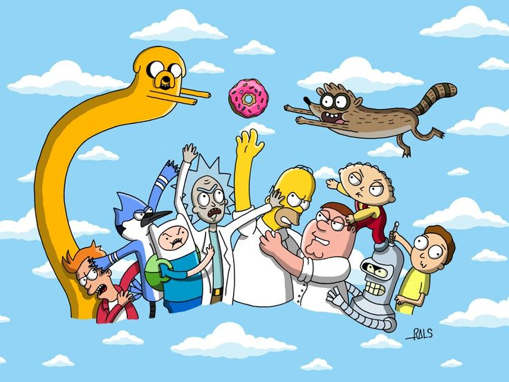 Cartoons Simpsons Homer Donut adventure time Finn and Jake Futurama fry Bender regular show Mordecai and Rigby famíly Guy Peter Griffin stewi Griffin