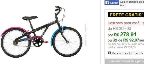 Bicicleta Caloi Monster High Aro 20 << R$ 27891 em 3 vezes >>