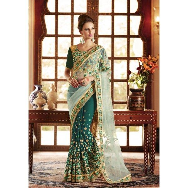 Indian Rag Green Designer Georgette Saree