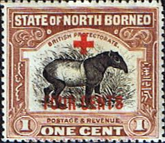 North Borneo 1918 Red Cross Overprint Surcharged Fine Mint SG 235 Scott B31 Other Malayan Stamps HERE