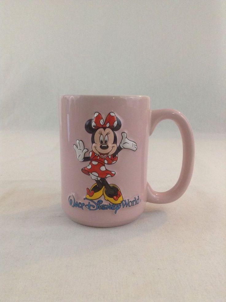 Walt Disney 3D Dimensional 2 Sided Minnie Mouse Pink Blue Coffee Cup Mug Liquid #Disney