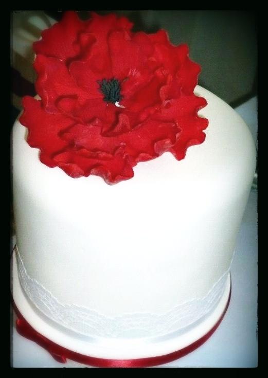 Yummy wedding cake and beautiful sugar peonie