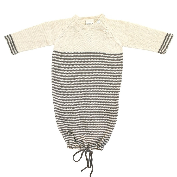 The perfect way for baby to meet the world, this luxurious knitted cotton receiving gown is easy on the eyes and makes midnight diaper changes a breeze.  A great newborn gift or bring-me-home outfit.  From Estella. $80 #Designer #Luxury #baby #fashion