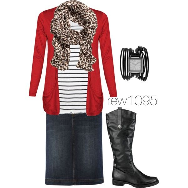Red cardigan, black and white striped shirt, and cheetah scarf...FALL TIME
