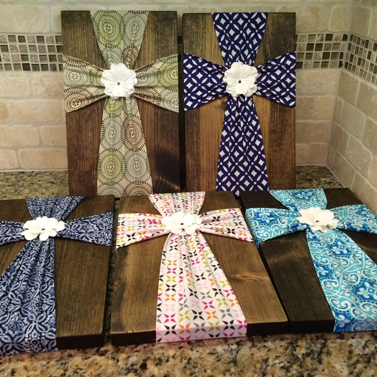 These fabric crosses on wood are going quick! Be sure to get yours now! See all the fabric options in the Wall Art section.