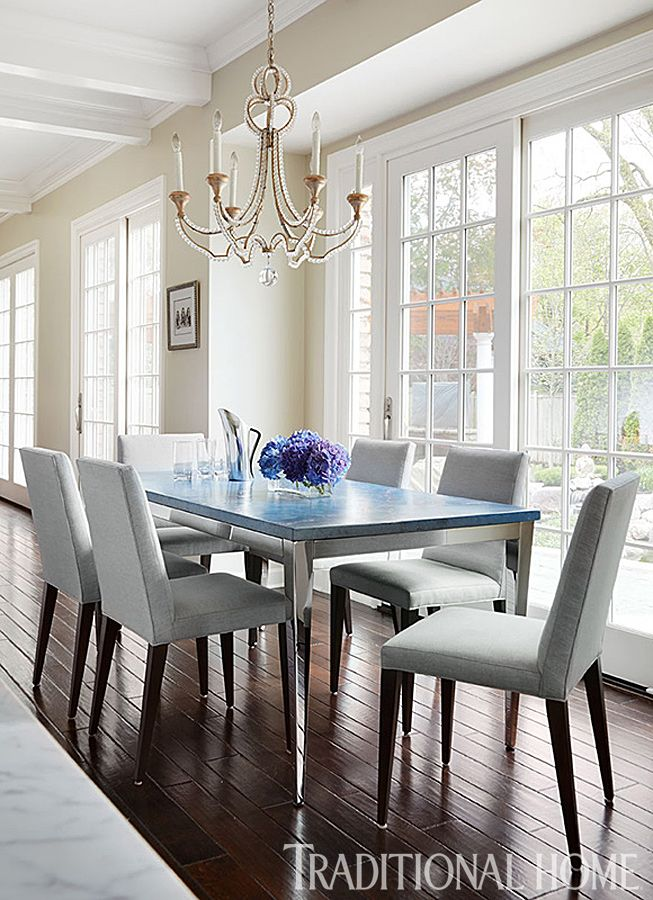 Gorgeous Kitchen Renovation By Mick De Giulio Features Our Danieli Chandelier In The Dining Area