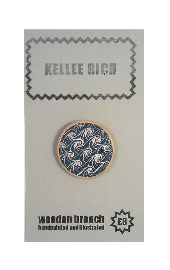handpainted wooden brooch  pin  badge  waves sea by KELLEERICH, £8.00 #brooch #handmade #handpainted #illustrated #wood #pin