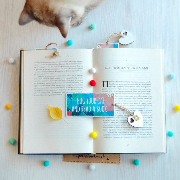 "Handmade motivational bookmark ""Hug your cat and read a book"" - perfect gift for any catlover!  Just imagine smiles on people's faces, just looking at this bookmark!    Handmade 2-sided bookmark..."