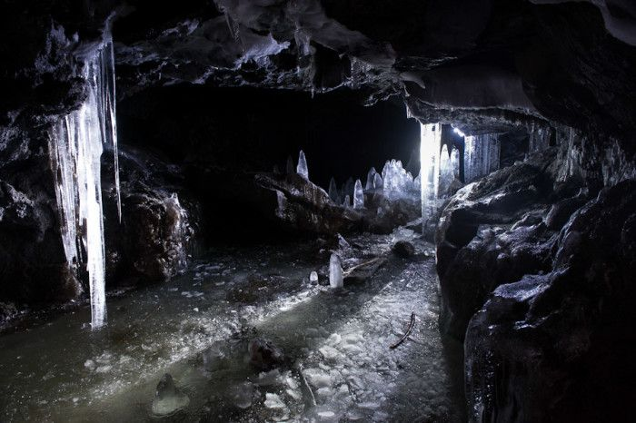 Guler Ice Caves near Trout Lake (south of Mt. Adams).  Close by is Cheese Caves & Ape Caves.