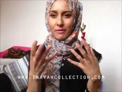Hijab tutorials, styles & tips for different face shapes-Round, oval, lo... Dina Tokio blogging for the Inayah collection...