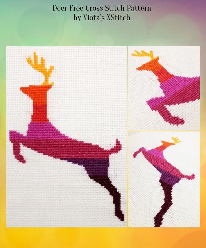 Deer free cross stitch pattern from Yiota's Xstitch