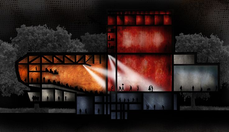 gazhaneModern, Architect: Attila Beksaç, Auditorum  Sectional View Spring 2014 YTU Department of Architecture