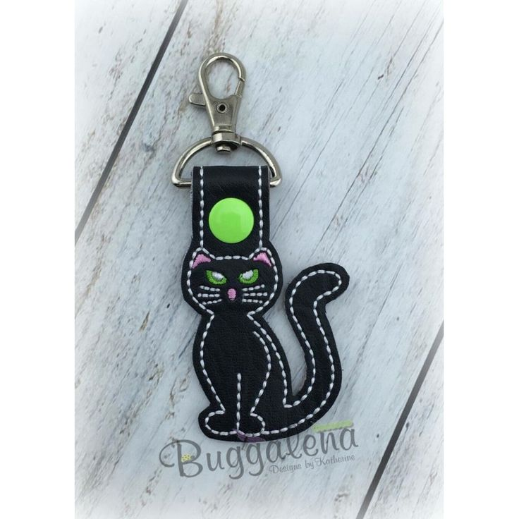 Cat Key Fob Embroidery Design with Snap Tab-Key Fobs / Snap Tabs...