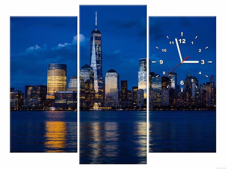 Zegar na płótnie 90X70 Nowy Jork OBRAZY Z ZEGAREM Galeria obrazów Art Verde