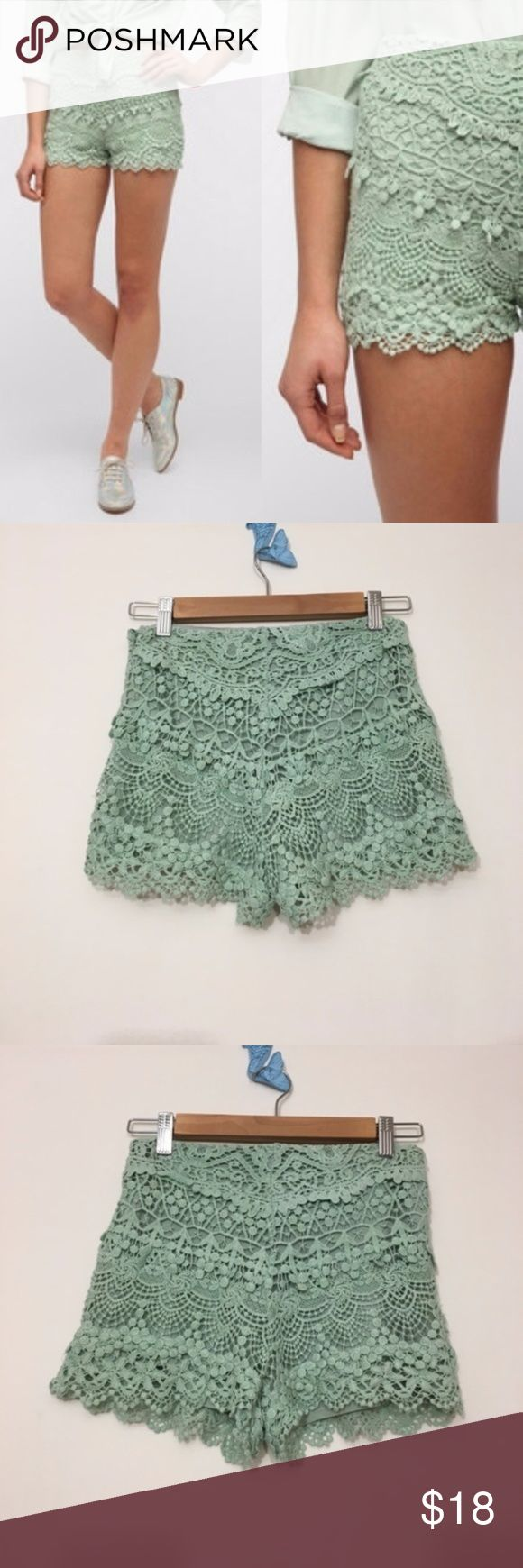 """🆕 Urban outfitters KIMCHI BLUE lace tap shorts 🆕 Urban outfitters KIMCHI BLUE lace anthea tap shorts  SIZE 0  New, unworn condition; no tags attached.  Little lace tap short from Kimchi Blue. Soft cotton construction with angled layers of lace.   Hidden zipper at the side. Scalloped trim at the hem. Fully lined. High-rise.   Super short 1"""" inseam Urban Outfitters Shorts"""