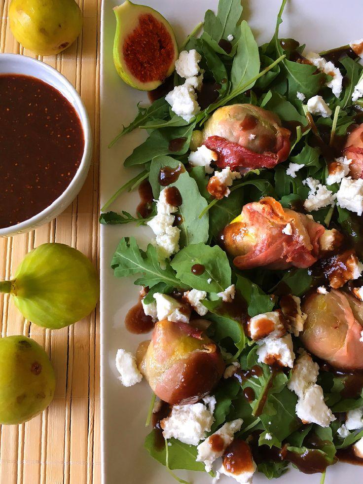 Figs, goat cheese and arugula salad