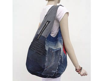 Borsa a tracolla denim borsa borsa hobo grab borsa stile Punk Emo riciclato upcycled denim