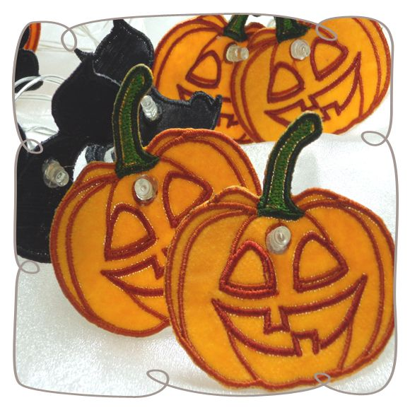 Organza Black Cat and Pumpkin String Lights Machine Embroidery Design