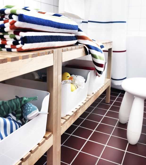 MOLGER bench - a comfortable place to sit with convenient storage for bath toys and accessories.