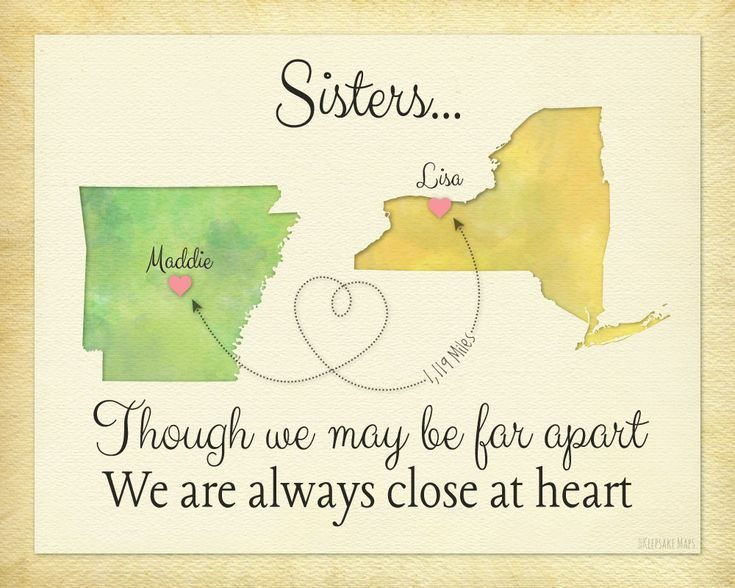 Long Distance Gift for Sisters, Christmas Gift for Sisters, Always Close at Heart Quote, Going Away Gift Idea for Sisters, Sorority Sister Gift Print by KeepsakeMaps on Etsy