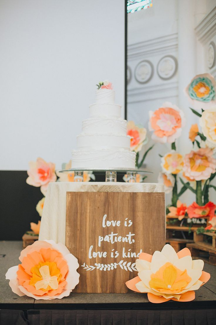 'Love is patient, love is kind' sweet love quotes for wedding signs //Adrian + Giacinta's Wedding with an Oversized Coral and Pink Paper Flower Installation