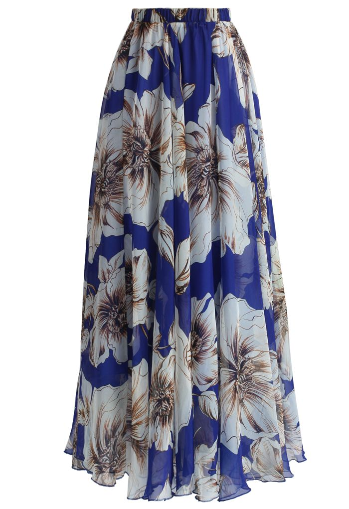 Marvelous Floral Maxi Skirt in Blue - Retro, Indie and Unique Fashion