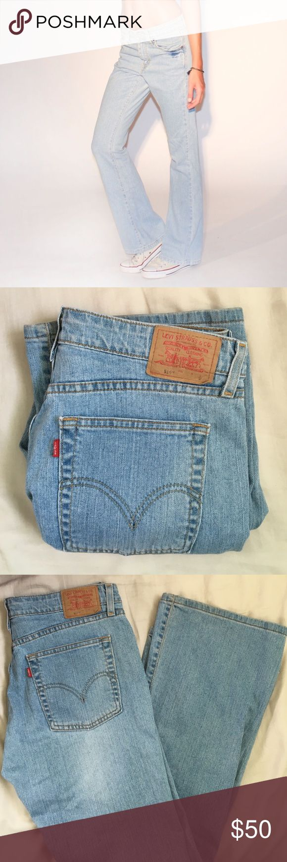 """✌🏼️Vintage light wash Levi's 519 low flare jeans Vintage light wash denim Levi's 519 low flare bell bottom jeans. Hippie vibes. Gorgeous color. ✌🌈 Size 28 (measured from front seam to seam.) Tag says 11 Jr. Low stretch fit. 😄 Waist 14.5"""" across, rise 10"""", inseam 31"""", leg opening 10"""", hips 20"""". Use measurements. ❗️Not responsible for jeans not fitting.❗️ Levi's Jeans Flare & Wide Leg"""