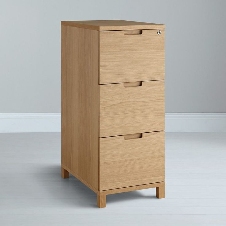 Three Drawer Wooden File Cabinet