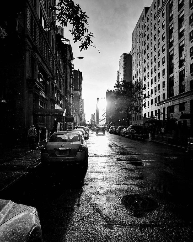 #nyc #manhattan #newyork #igny #ig_nyc #eastvillage #downtown #rain #raindrops #wet #water #reflection #road #street #blackandwhite #monochrome #sunset #sun #cityview #city #urban #shadow #light #lightandshadow #sun #nycphotographer #nycphoto #nycphotography