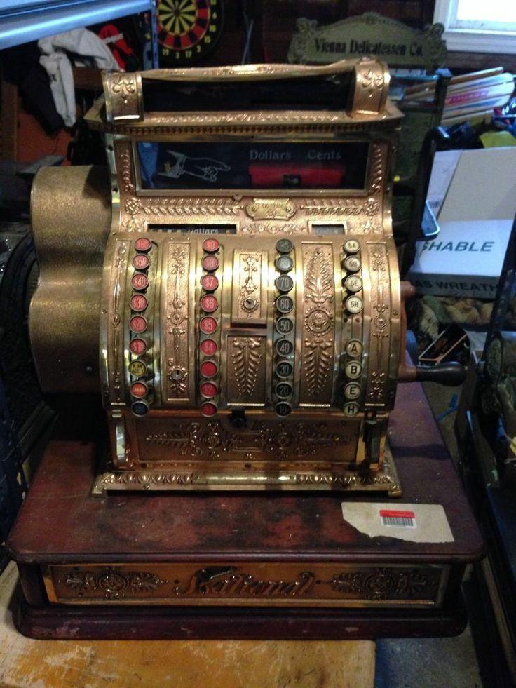 Antique Brass National Cash Register Model 441 NCR Candy Store Coin Op Barber