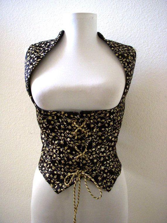Vintage Black Satin and Gold Corset Vest  Black Satin and