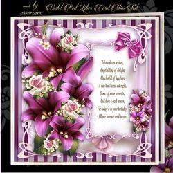 Violet Red Lilies Card Mini Kit on Craftsuprint - View Now!